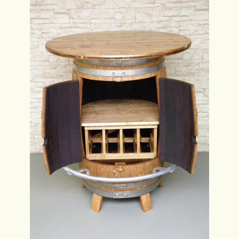 bar fass stehtisch mit weinregal und fu ring escher 39 s fassm bel ihr spezialist f r. Black Bedroom Furniture Sets. Home Design Ideas